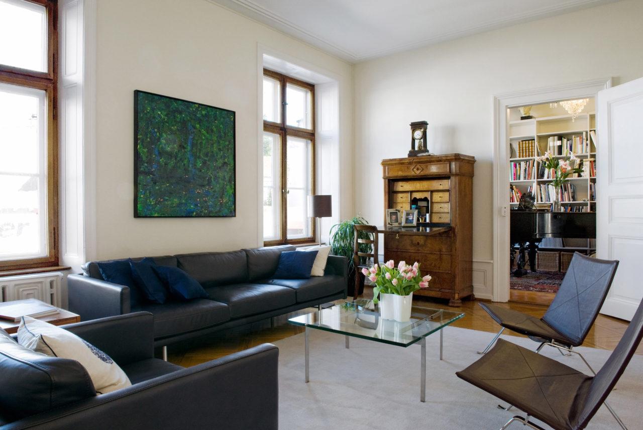 Wohnraum im 1.Obergeschoss nach Umbau und Ausbau von Architekturbüro Forsberg in Basel