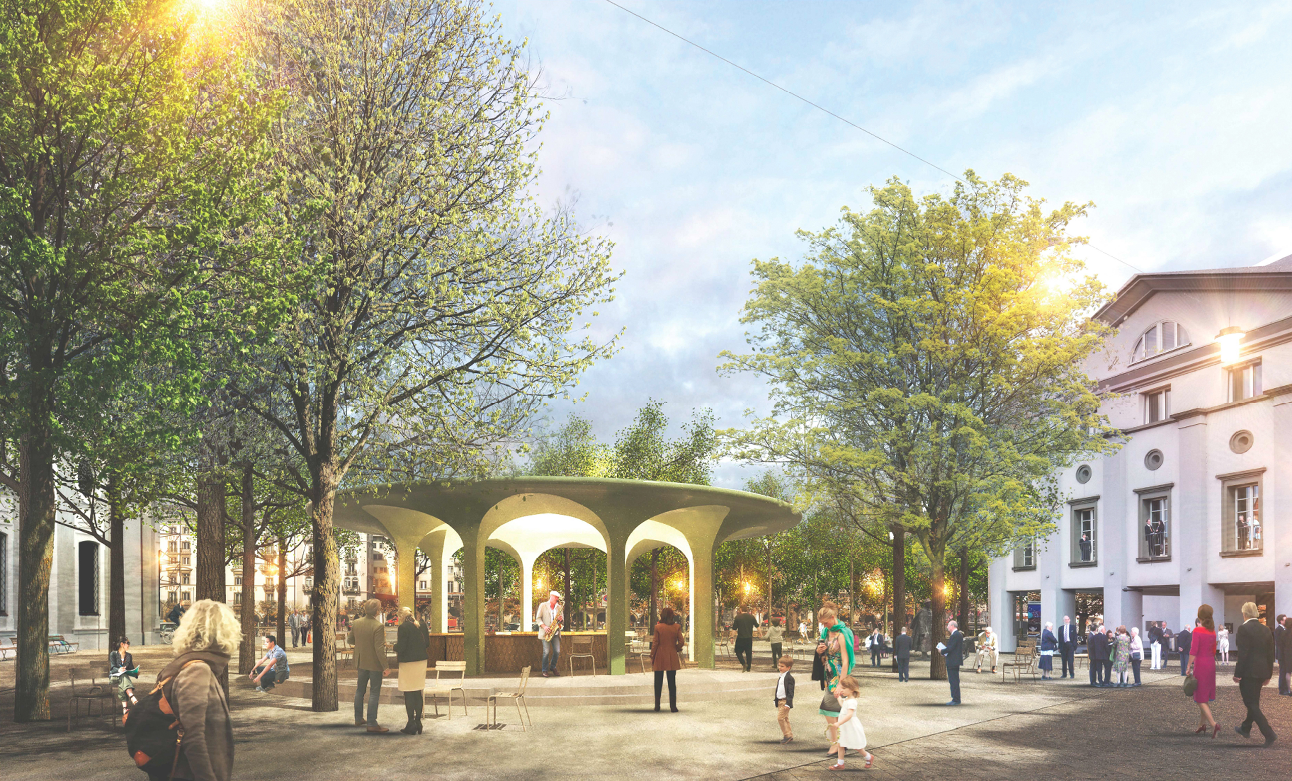 Pavillon Beitrag Wettbewerb von Architekturbüro Forsberg in Basel mit mit Stauffer Rösch Landschaftsarchitekten und Ernst Basler Partner